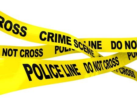 escena del crimen: Ilustraci�n 3D de cintas de l�nea de polic�a sobre fondo blanco