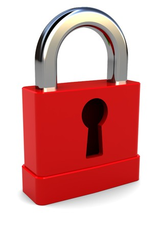 3d illustration of small red lock over white background Stock Illustration - 7550563