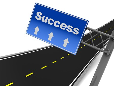 3d illustration of road sign with text success on it illustration