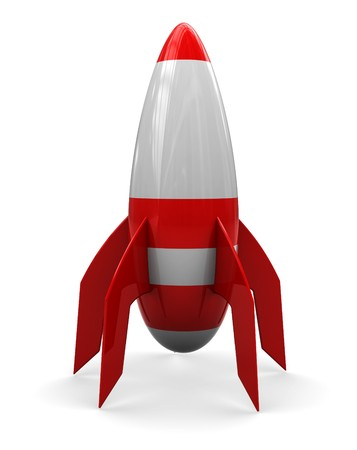 launch vehicle: abstract 3d illustration of cartoon rocket over white background