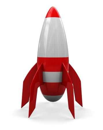 cartoon rocket: abstract 3d illustration of cartoon rocket over white background