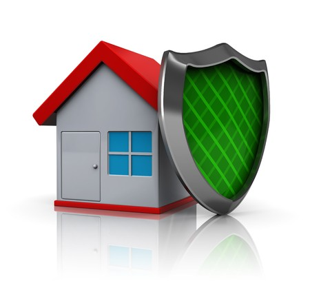 defensive: 3d illustration of house protected by shield, over white background
