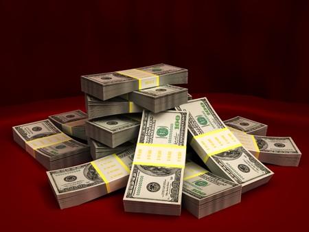 3d illustration of dollars stack over red colors background Stock Illustration - 7550654