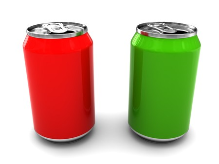alluminum: 3d illustration of two alluminum cans over white background