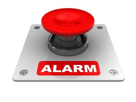 seguridad industrial: Ilustraci�n 3D de bot�n rojo con la leyenda de alarma  Foto de archivo