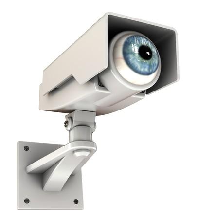 合計: 目には、ビッグブラザーの概念とセキュリティ カメラの 3 d イラストレーション