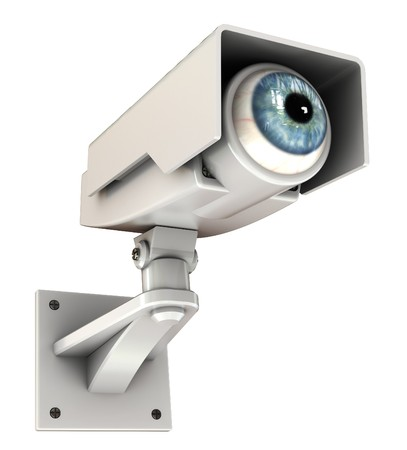 cam: 3d illustration of security camera with eye, big brother concept Stock Photo