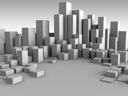 abstract 3d illustration of gray boxes city background illustration