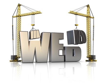 web site: 3d illustration of cranes building web sign, over white background