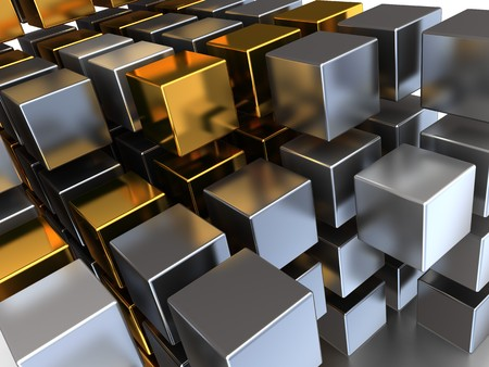 abstract 3d illustration of metal cubes background illustration