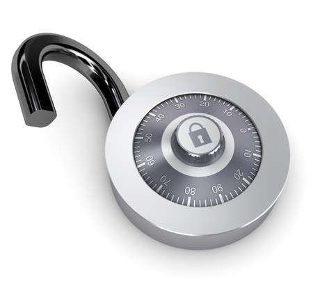 combination: 3d illustration of opened combination lock over white background Stock Photo