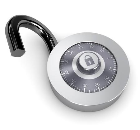 to lock: illustrazione 3D di serratura a combinazione aperto su sfondo bianco