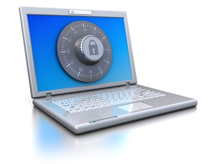 encoding: 3d illustration of laptop protected by combination lock