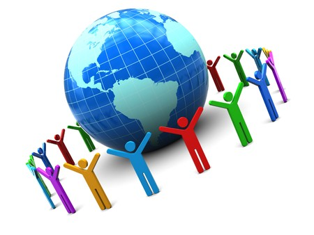 hands holding earth: abstract 3d illustration of earth globe and colorful people around