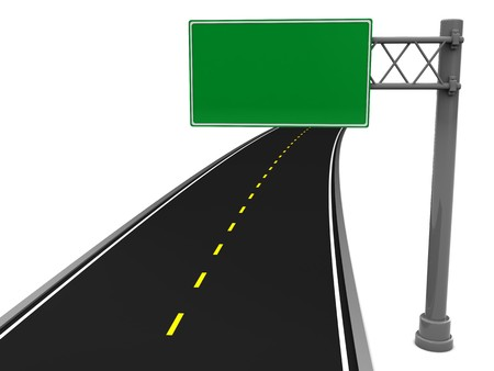 3d illustration of asphalt road and blank road sign