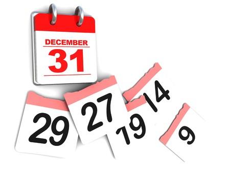 3d illustration of calendar over white background, days passing concept illustration