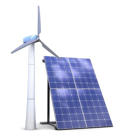 太陽能和風力發電機的三維圖