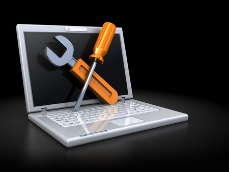abstract 3d illustration of laptop computer with wrench and screwdriver over dark background
