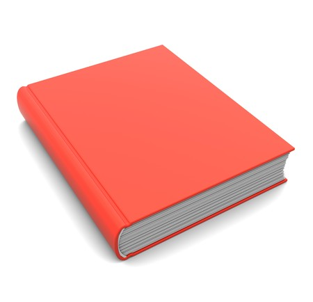 new books: 3d illustration of closed red book over white background