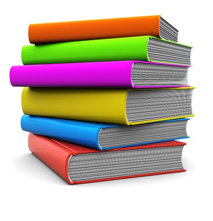 stack of papers: 3d illustration of colorful books stack over white background Stock Photo