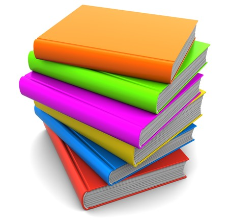 3d illustration of colorful books stack with blank covers Stock Illustration - 7744642