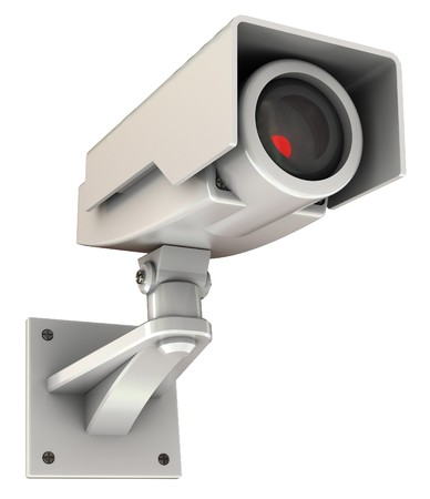 viewing angle: 3d illustration of security camera with red light inside, isolated on white Stock Photo