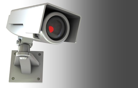 viewing angle: abstract 3d illustration of security camera background with copyspace Stock Photo