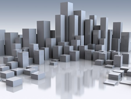 abstract 3d illustration of city buildings background illustration