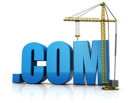 domain: abstract 3d illustration of crane building text .com, web development concept
