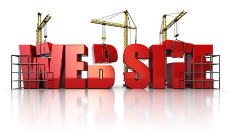 worldwide website: 3d illustration of three cranes building text web site over white background Stock Photo
