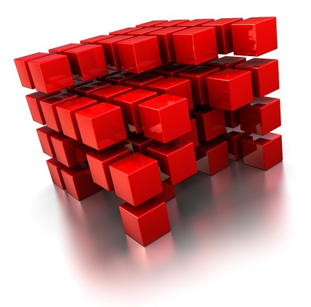 red building blocks: abstract 3d illustration of red cubes structures over white background