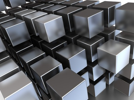 chaos: abstract 3d illustration of steel cubes background