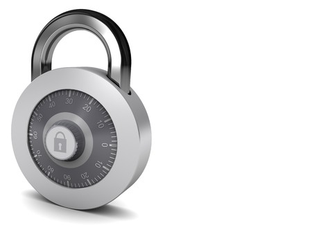 3d illustration of combination lock at left side of white background