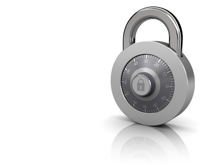 3d illustration of combination lock at right side of white background Stock Illustration - 7744521