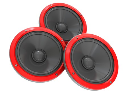 loudness: 3d illustration of three audio speakers isolated over white background