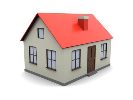 3D Abbildung des generischen Haus Modells gegenüber dem weißen Hintergrund