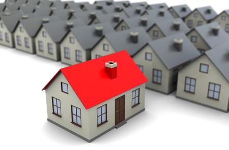 housing estates: illustrazione 3d astratto della riga case grigie, con una scelta colorate, casa concetto  Archivio Fotografico
