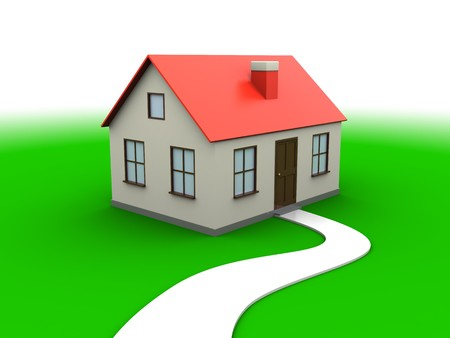 abstract 3d illustration of house over green meadow and white background Stock Illustration - 7744506