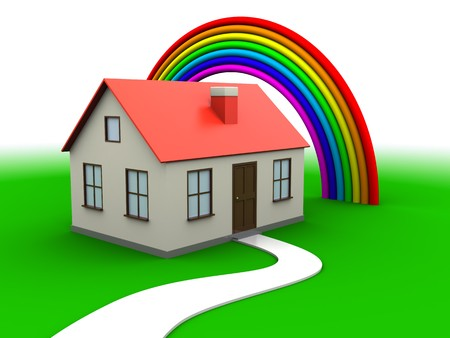 abstract 3d illustration of house on green grass with rainbow Stock Illustration - 7744623