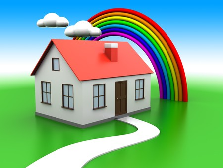abstract 3d illustration of house on green meadow, with rainbow and clouds at background illustration