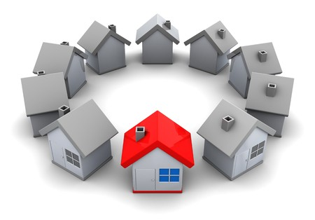 selected: abstract 3d illustration of houses circle, home choice concept Stock Photo