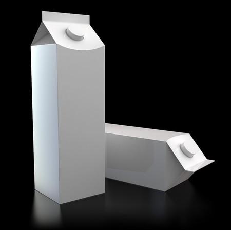3d illustration of two milk packs over black background illustration