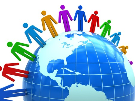 togetherness: abstract 3d illustration of colorful people around earth globe Stock Photo