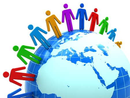 surrounding: abstract 3d illustration of colorful people around earth globe Stock Photo
