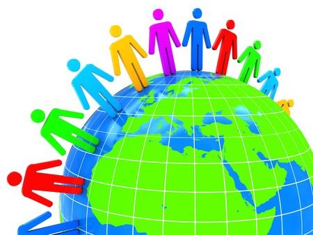 surrounding: abstract 3d illustration of world with colorful people, over white background Stock Photo