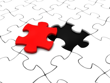 customized: abstract 3d illustration of white puzzle with last red piece