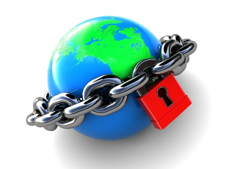abstract 3d illustration of earth with chains and lock, over white background illustration