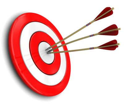 projectile: 3d illustration of three darts in target center, over white background