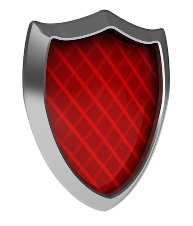 cross armed: abstract 3d illustration of red shield icon isolated over white background