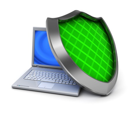 3d illustration of laptop computer and green shield, over white background illustration